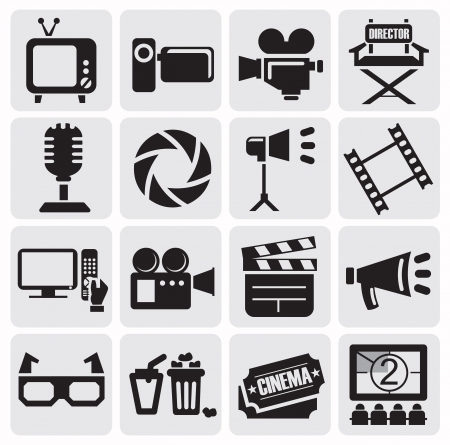 cinema viewing: movie icons set Illustration
