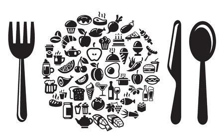 bread soda: food and drink icons set