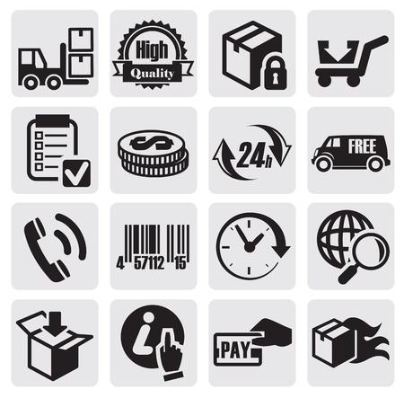 warehouse cargo: shipping icons Illustration