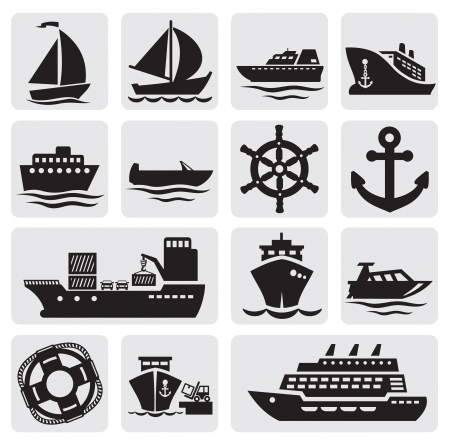 yacht: boat and ship icons set