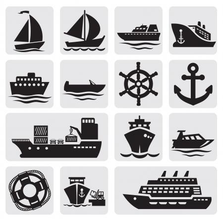 navy ship: iconos en barco y barco parti�