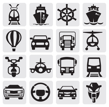 ship sign: transport icons set Illustration