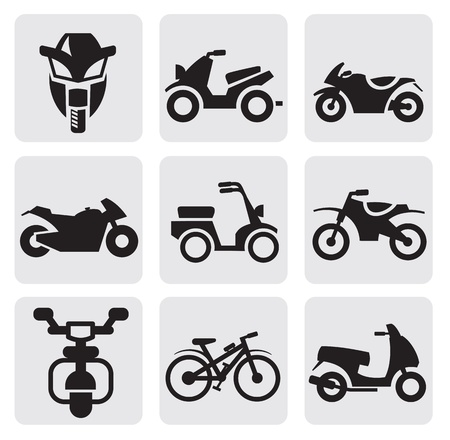 motorbikes: motorcycles and bicycles set