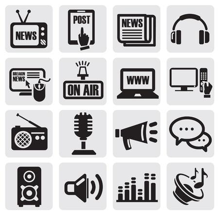 medios de comunicacion: iconos de medios establecido