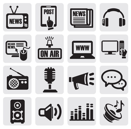 internet radio: media icons set Illustration