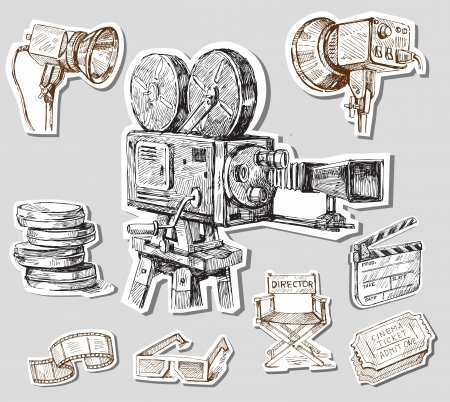 movie clapper: movie camera-hand drawn