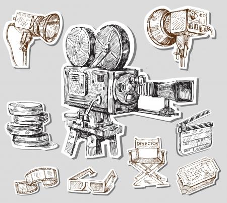 cinta pelicula: pel�cula de la c�mara dibujado a mano Vectores