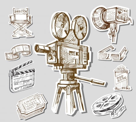 movie camera-hand drawn photo