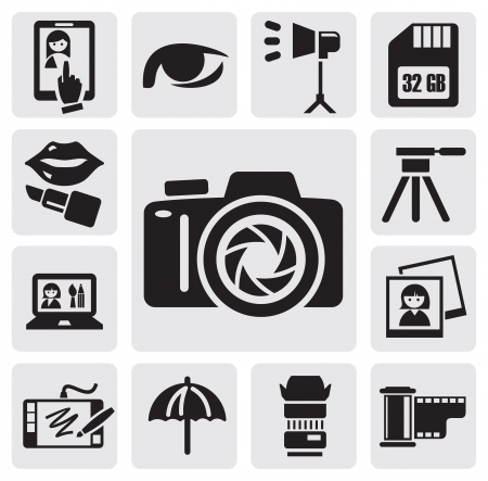 tripods: photo icons Illustration