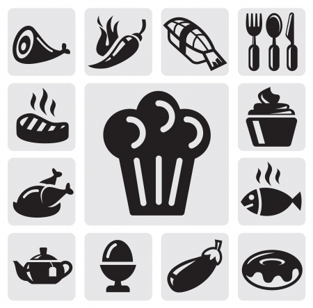 dessert buffet: restaurant icons Illustration