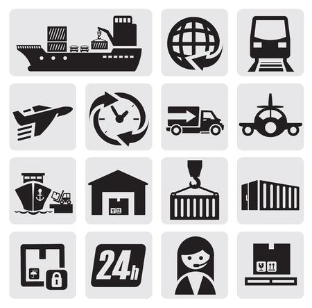 szállítás: hajózás és cargo ikonok Illusztráció