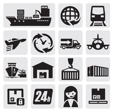 ship parcel: shipping and cargo icons