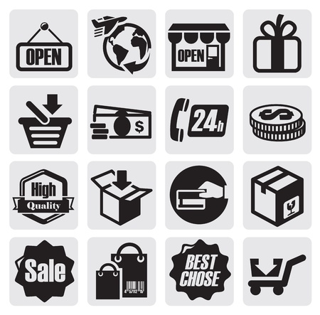 delivery package: shopping icons