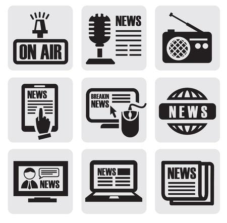 médias journaux icônes Vecteurs