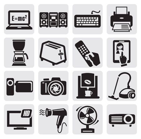 home video camera: devices icons set