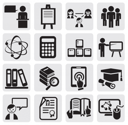 Education icons set Stock Vector - 14855811