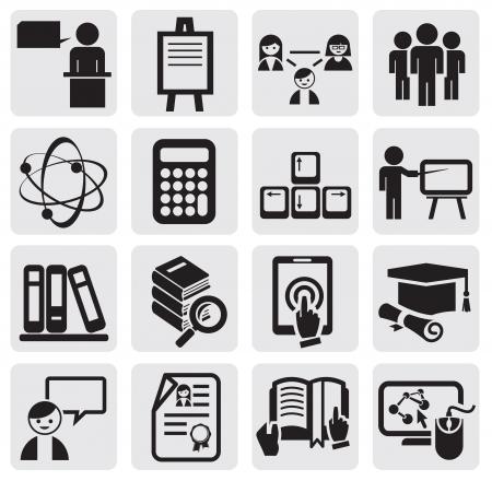 Onderwijs icons set Vector Illustratie