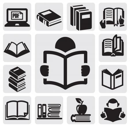 lezing: Boeken icons set Stock Illustratie