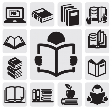 the reader: Books icons set