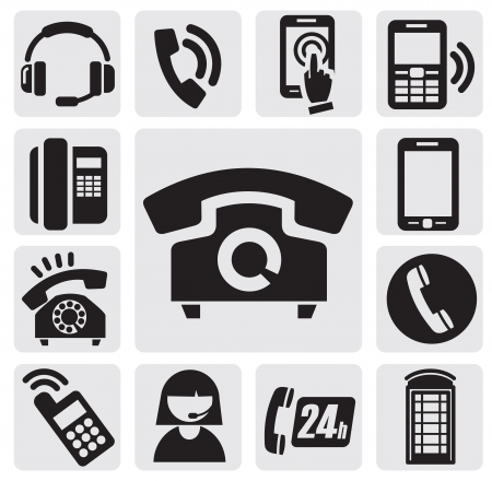old office: Phone icons Illustration