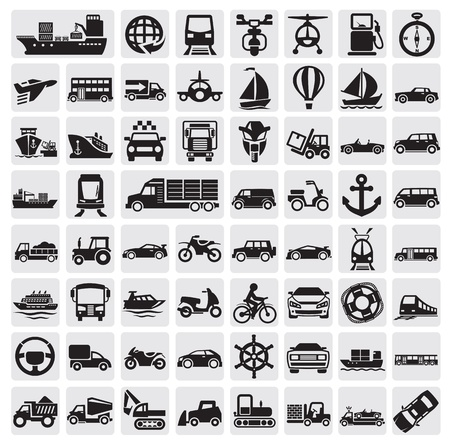 motor transport: big transportation icon set Illustration