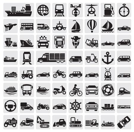 gran transporte icon set