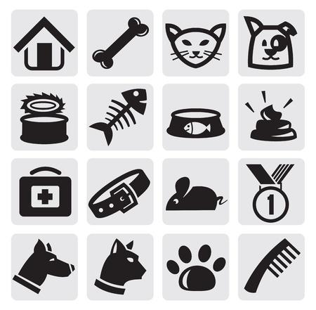 hueso de perro: perros y gatos establecidos Vectores
