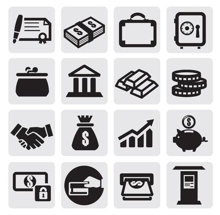 atm card: negocios financieros iconos Vectores