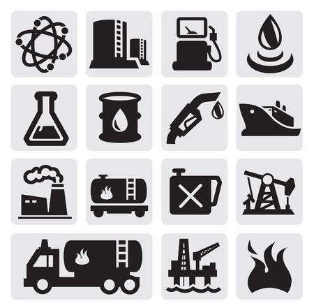 oliedrum: Olie en benzine pictogrammen Stock Illustratie