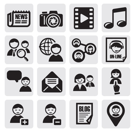 social network set Stock Vector - 14936757