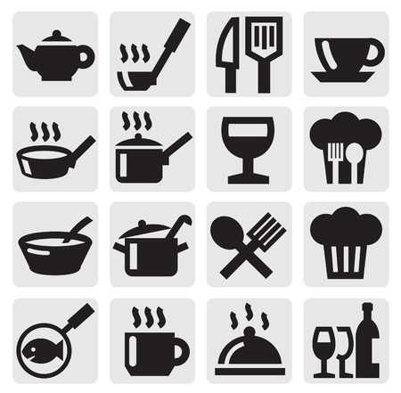 restaurant, cafe and bar icons Vector