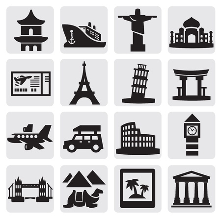 travel and landmarks set Vector