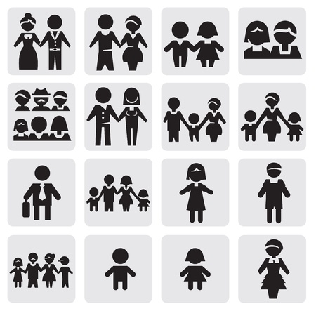 black family: people icons Illustration