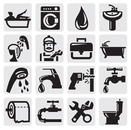 ванная комната: Ванная комната иконки Иллюстрация