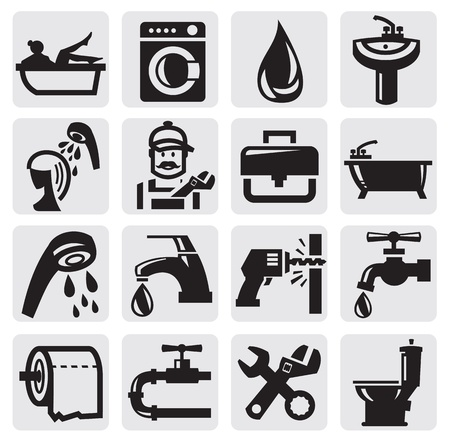 loodgieterswerk: badkamer icons