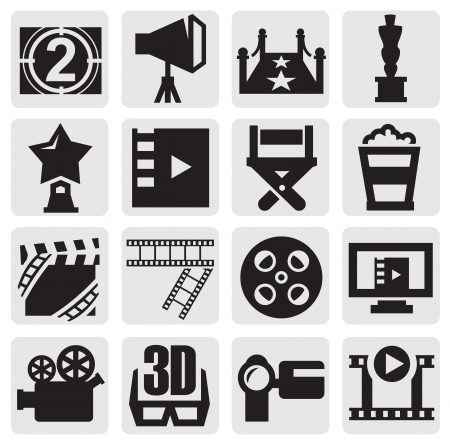 hollywood movie: vector movie icons