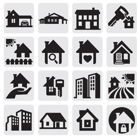 silhouette maison: maisons mis en
