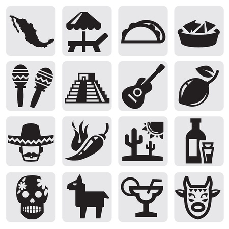 food and drink holiday: mexican set Illustration