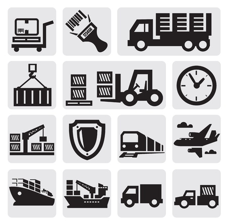 import: Logistic and shipping icon set Illustration