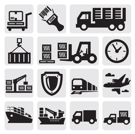szállítás: Logisztikai és szállítási ikon készlet Illusztráció