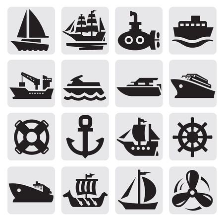 navy ship: boat and ship icons set