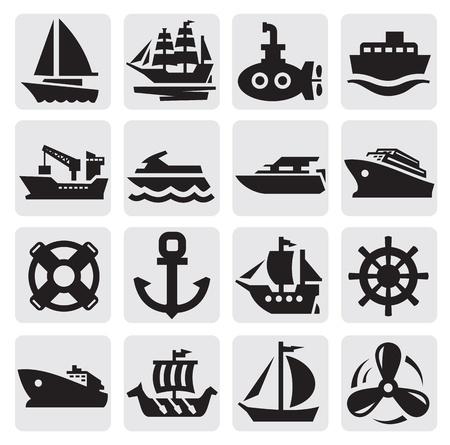 navy ship: iconos barco y barco parti�