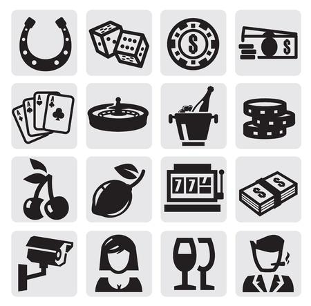gambling chip: iconos de casino Vectores
