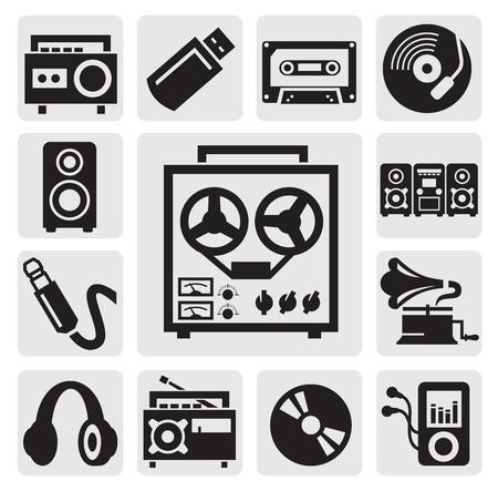 on records: music set Illustration