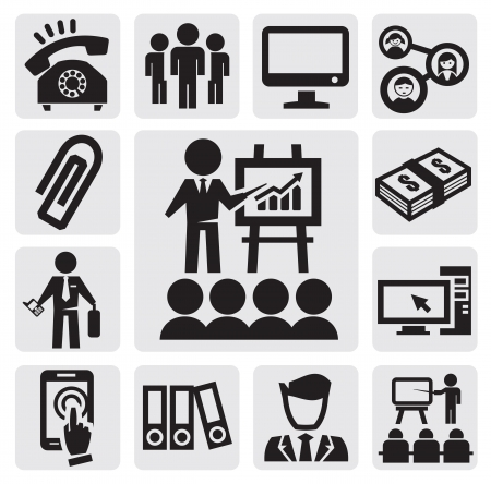 computer education: office and business icons