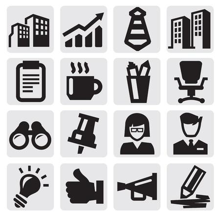 business: office e incassi icone Vettoriali