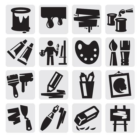 painter palette: art icons set