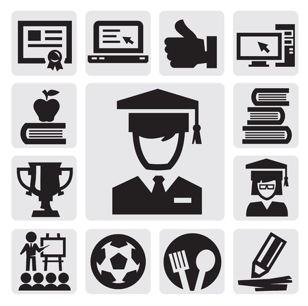 education icons Stock Vector - 15130877