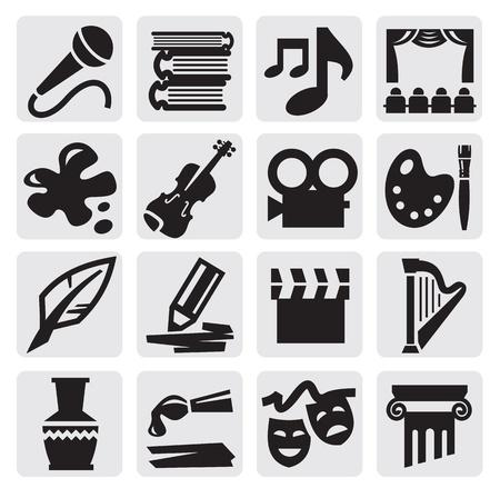 artes plasticas: Artes icon set Vectores