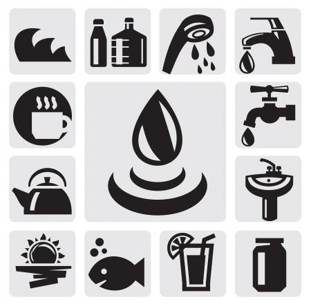 llave de agua: Iconos de agua